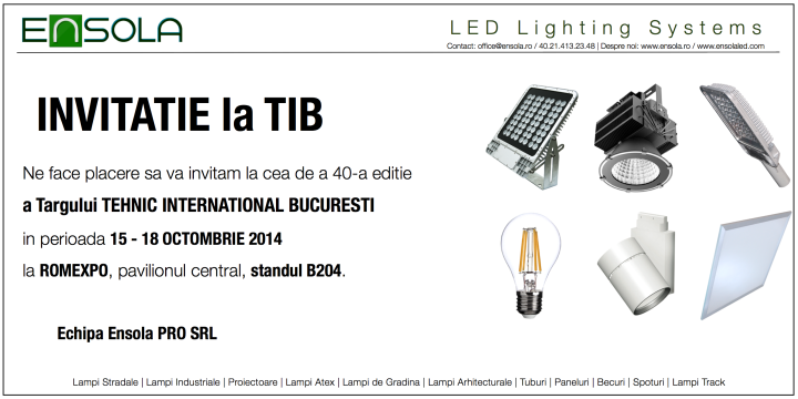 Invitatie la TIB @ Ensola LED